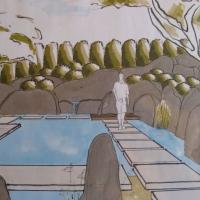 Koiteich im japanischen Garten - Perspektive