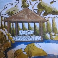 Perspektive Pavillion am Teich