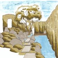 Japangarten mit Trockenteich - Perspektive